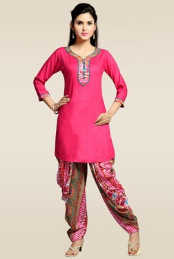 Zola Pink Rayon Kurta With Patiyala