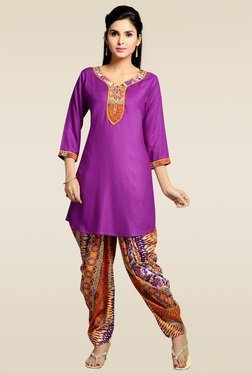 Zola Purple 3/4th Sleeves Kurta With Patiyala