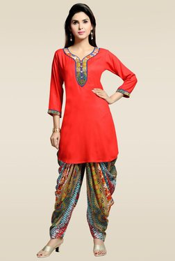Zola Red 3/4th Sleeves Kurta With Printed Patiyala