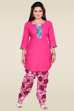 Zola Pink 3/4th Sleeves Rayon Kurta With Patiyala