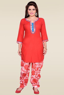 Zola Red Round Neck Kurta With Patiyala