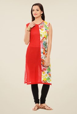 Rigo Red & Off White Printed Kurta