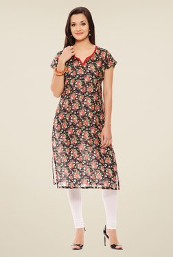 Rigo Black & Red Floral Print Kurta