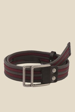 The Bro Code Grey And Maroon Striped Canvas Belt