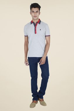 Provogue Grey Solid Polo T Shirt