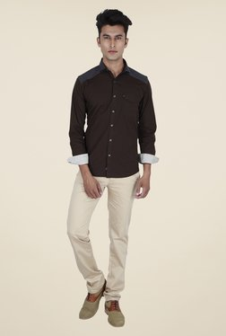 Provogue Brown Solid Shirt
