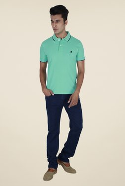 Provogue Green Solid Polo T Shirt