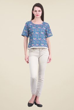 Meee Blue Floral Print Top - Mp000000000856381