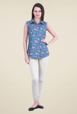 Meee Light Blue Floral Print Shirt