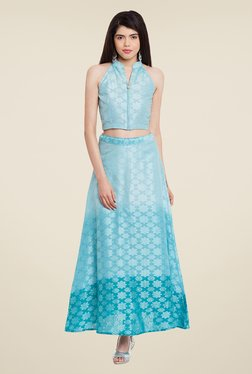Meee Blue Self Print Skirt Set