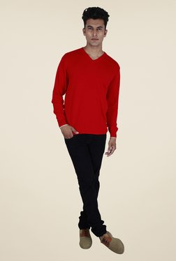 Provogue Red Solid Sweater