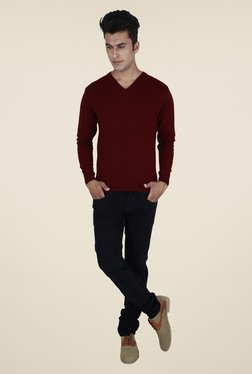 Provogue Maroon Solid Sweater