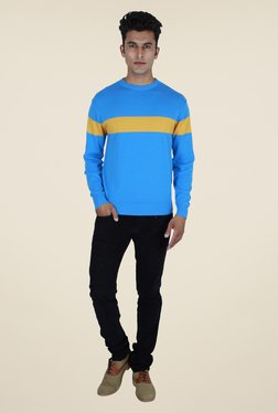 Provogue Blue Solid Sweater