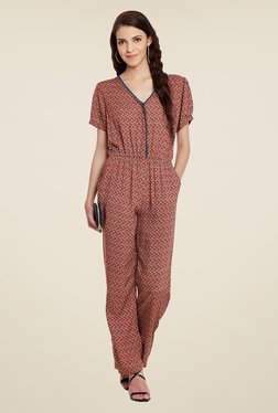 Meee Red Printed Jumpsuit