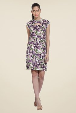 RSVP Cross Purple Floral Print Dress