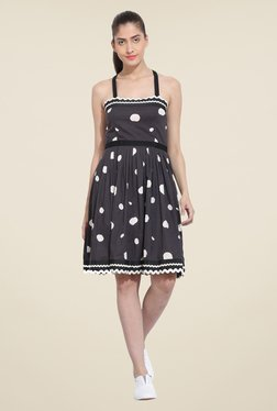 RSVP Cross Black Polka Dot Dress