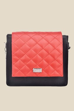 Satya Paul Black And Red Quilted Leather Sling Bag
