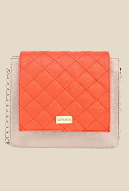 Satya Paul Beige And Orange Quilted Leather Sling Bag
