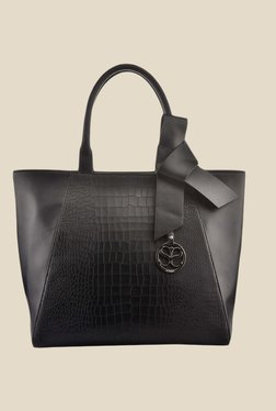 Satya Paul Black Bow Leather Tote Bag