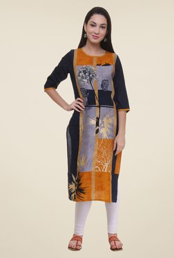 Shree Mustard & Purple Floral Print Kurta