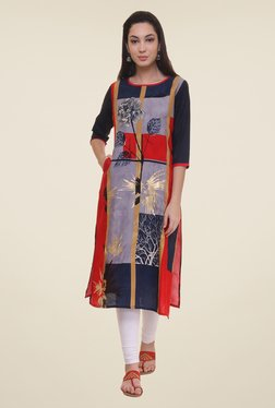 Shree Navy & Purple Floral Print Kurta