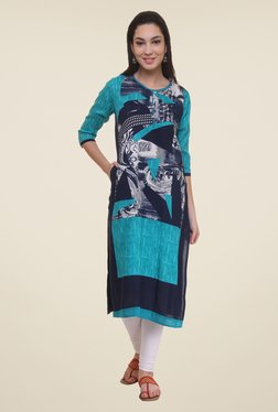 Shree Turquoise & Navy Printed Kurta - Mp000000000859822