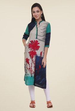 Shree Magenta & Beige Floral Print Kurta