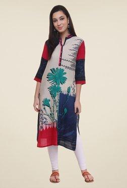 Shree Green & Beige Floral Print Kurta