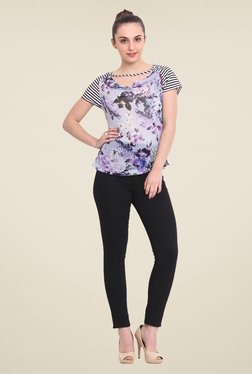 RSVP Cross Blue Floral Print Top