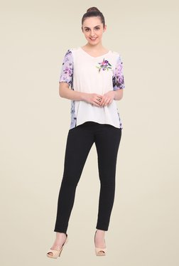 RSVP Cross Off White Floral Print Top - Mp000000000858788