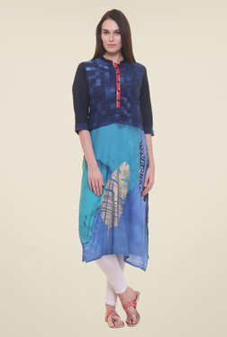 Shree Turquoise & Navy Printed Kurta - Mp000000000860050