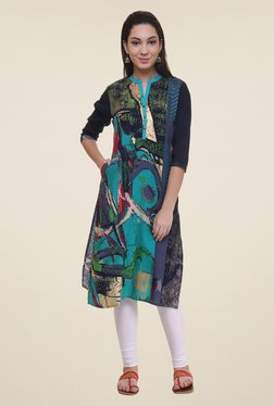 Shree Turquoise & Navy Printed Kurta