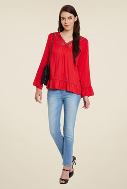 Meee Red Lace Top