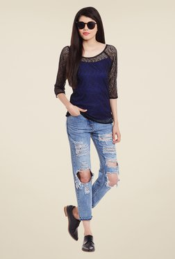 Meee Blue And Black Lace Top