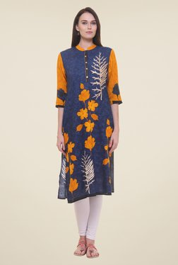 Shree Navy & Yellow Floral Print Kurta