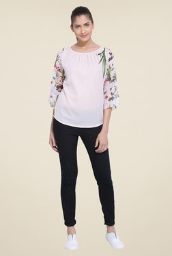 RSVP Cross Off White Floral Print Top
