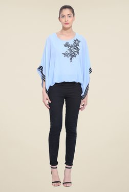 RSVP Cross Sky Blue Embroidered Top