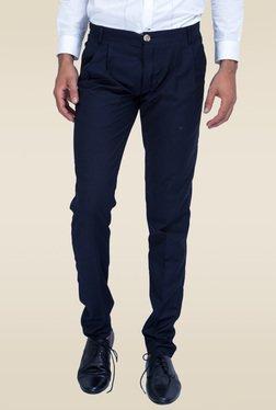 Mr. Button Blue Low Rise Slim Fit Trouser
