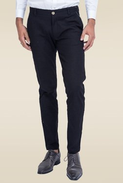 Mr. Button Black Trouser With Ice Blue Detail