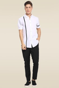 Mr. Button Black Slim Fit Low Rise Trouser