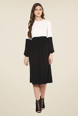 Femella Black & White Solid Dress