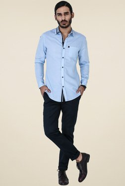 Mr. Button Ice Blue Full Sleeves Slim Fit Shirt