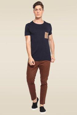Mr. Button Blue Cotton Round Neck Slim Fit T-Shirt