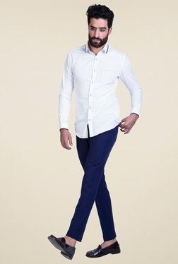 Mr. Button White Cotton Solid Full Sleeves Shirt