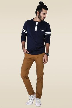 Mr. Button Blue Full Sleeves Cotton T-Shirt