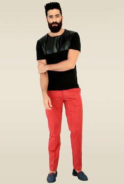 Mr. Button Black Round Neck Slim Fit Cotton T-Shirt