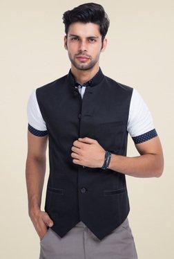 Mr. Button Black Sleeveless Slim Fit Nehru Jacket