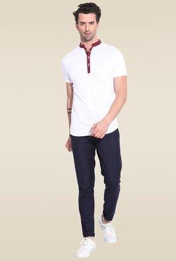 Mr. Button White Cotton Mandarin Collar T-Shirt