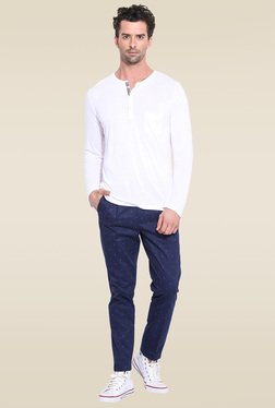 Mr. Button White Henley Slim Fit T-Shirt