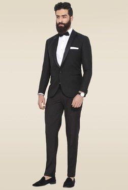 Mr. Button Black Slim Fit Full Sleeves Blazer